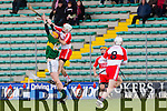 In Action Kerry's Michael O'Leary and Derry's Sean McCullagh in the  Allianz Hurling League Kerry Vs Derry at Austin Stack Park on Sunday