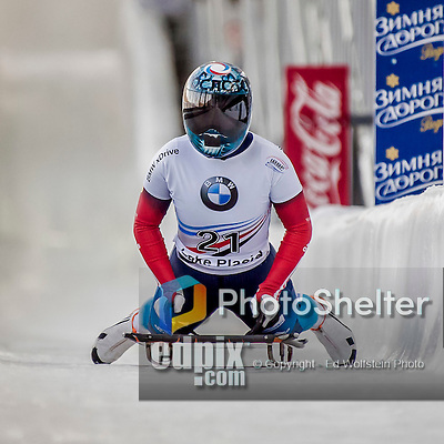 8 January 2016: Anastasia Shlapak, competing for Russia, completes her second run of the BMW IBSF World Cup Skeleton race with a combined 2-run time of 1:53.09, ranking an 18th place finish for the day at the Olympic Sports Track in Lake Placid, New York, USA. Mandatory Credit: Ed Wolfstein Photo *** RAW (NEF) Image File Available ***