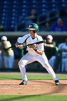 USF Bulls infielder/outfielder Kevin Merrell (6) squares to bunt during a game against the Alabama State Hornets on February 15, 2015 at Bright House Field in Clearwater, Florida.  USF defeated Alabama State 12-4.  (Mike Janes/Four Seam Images)