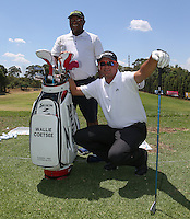 Wallie Coetsee (RSA) with caddie Pat  on the range during the preview of the Tshwane Open 2015 at the Pretoria Country Club, Waterkloof, Pretoria, South Africa. Picture:  David Lloyd / www.golffile.ie. 10/03/2015