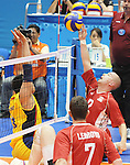 November 18 2011 - Guadalajara, Mexico:  Mikael Bartholdy of Team Canada reaches for a spike while taking on Columbia in the Bronze Medal Game in the Pan American Volleyball Complex at the 2011 Parapan American Games in Guadalajara, Mexico.  Photos: Matthew Murnaghan/Canadian Paralympic Committee