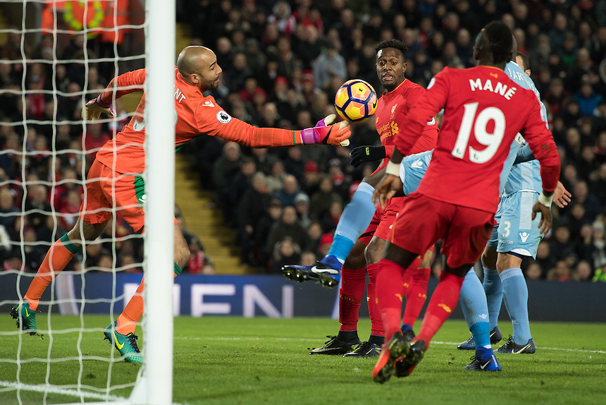 Stoke City's Lee Grant saves Liverpool's Divock Origi shot<br /> <br /> Photographer Terry Donnelly/CameraSport<br /> <br /> The Premier League - Liverpool v Stoke City - Tuesday 27th December 2016 - Anfield - Liverpool<br /> <br /> World Copyright &copy; 2016 CameraSport. All rights reserved. 43 Linden Ave. Countesthorpe. Leicester. England. LE8 5PG - Tel: +44 (0) 116 277 4147 - admin@camerasport.com - www.camerasport.com