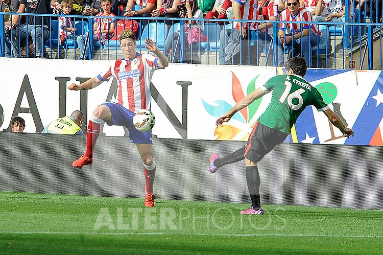 Atletico de Madrid´s Fernando Torres and Athletic Club´s Xabier Etxeita during 2014-15 La Liga match between Atletico de Madrid and Athletic Club at Vicente Calderon stadium in Madrid, Spain. May 02, 2015. (ALTERPHOTOS/Luis Fernandez)