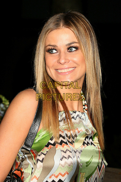 CARMEN ELECTRA.Bartles & Jaymes Poolside BBQ at the Roosevelt Hotel, Hollywood, California, USA..May 10th, 2007.headshot portrait green pattern .CAP/ADM/BP.©Byron Purvis/AdMedia/Capital Pictures
