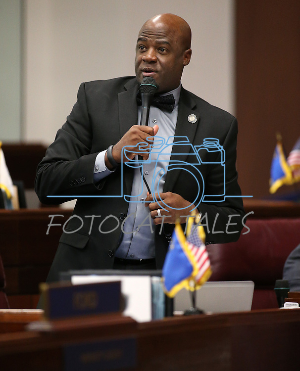 Nevada Sen. Kelvin Atkinson, D-Las Vegas, speaks on the Senate floor at the Legislative Building in Carson City, Nev., on Thursday, April 16, 2015.<br /> Photo by Cathleen Allison