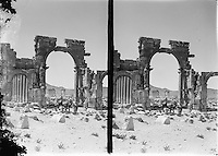 The Triumphal Arch of Palmyra in Palmyra, Syria is seen in this archival photograph taken in the late 19th Century of early 20th Century. The arch, which stood for 2000 years in Palmyra, Syria, was destroyed by Isis in 2015.  (Library of Congress)