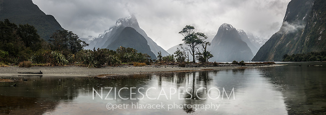 Milford Sound with Mitre Peak in rain, Fiordland National Park, Southland, UNESCO World Heritage Area, New Zealand
