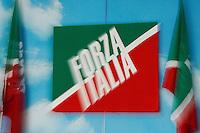 """simbolo Forza italia <br /> Milano 20/09/2013 Viale Monza<br /> conferenza stampa 'Da Pdl a Forza Italia' <br /> Press conference """"From PDL to Forza Italia"""" <br /> foto Andrea Ninni/Image/Insidefoto"""