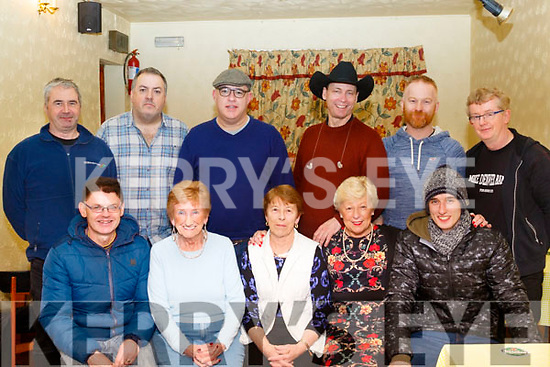 Seated L-R Pat Moroney, Margaret Doyle, Eileen Brown, Propriotor of the Three Counties Bar, Brosna, Shelia McGoldrick, and Thomas Egan, back L-R Gabriel Maguire, Al McQuilkin, Finnian Drum, John Permenter, Sean Moran and Jackie Conboy at the Mike Denver concert last Friday night in Brosna village.