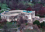 Aerial view of the Tomb of the Unknown Soldier and Arlington National Cemetary