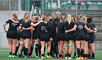 20190928 - Neder Over Hembeek, BELGIUM : Dendermonde's players are pictured before the female rugby match between the Dendermonde RC Women  and AAC Amsterdam Rugby Women, this is the final of the BeNeCup  on Saturday 28th September 2019 at the Nelson Mandela Stadium , Belgium. PHOTO SPORTPIX.BE | SEVIL OKTEM
