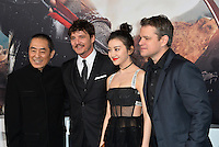 Yimou Zhang, Pedro Pascal, Tian Jing &amp; Matt Damon at the premiere for &quot;The Great Wall&quot; at the TCL Chinese Theatre, Hollywood, Los Angeles, USA 15 February  2017<br /> Picture: Paul Smith/Featureflash/SilverHub 0208 004 5359 sales@silverhubmedia.com