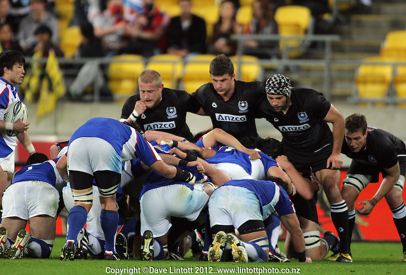 The NZU scrum prepares to engage during the rugby match between New Zealand Universities and Kanto (East Japan Rugby Union) at Westpac Stadium, Wellington, New Zealand on Saturday, 21 April 2012. Photo: Dave Lintott / lintottphoto.co.nz