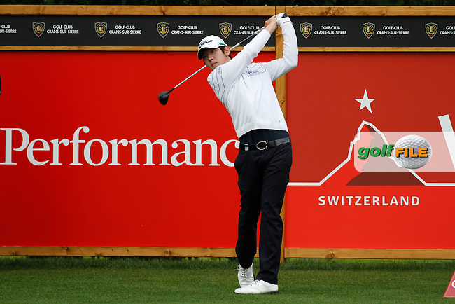 Noh Seung-yul (KOR) on the 12th during the 1st day of the Omega European Masters, Crans-Sur-Sierre, Crans Montana, Switzerland..Picture: Golffile/Fran Caffrey..