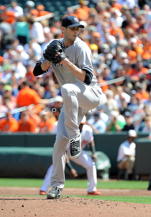 New York Yankees Brandon McCarthy (38) during a game against the Baltimore Orioles on September 12, 2014 at Orioles Park in Baltimore, MD. The Orioles beat the Yankees 2-1.