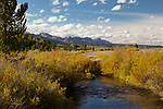 Idaho, East Central, Custer County, Stanley. The Sawtooth Valley, Salmon River and autumn color on the first day of autumn 2019.