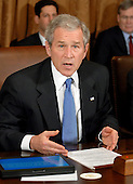 Washington, D.C. - February 4, 2008 -- United States President George W. Bush discusses his 3 trillion dollar budget plan for fiscal year 2009 after meeting with his cabinet in the Cabinet Room of the White House in Washington, D.C. on Monday, February 4, 2008.  The budget features an approximate 400 billion dollar deficit of which his 145 billion dollar economic stimulus plan is a part. .Credit: Ron Sachs / Pool via CNP