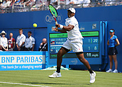 June 19th 2017, Queens Club, West Kensington, London; Aegon Tennis Championships, Day 1;  Donald Young of USA plays a forehand versus Nick Kyrgios of Australia