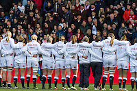 England line up in front of the crowd during the anthems, England Women v New Zealand Women in an Old Mutual Wealth Series, Autumn International match at Twickenham Stoop, Twickenham, England, on 19th November 2016. Full Time score 20-25