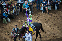 DEL MAR, CA - NOVEMBER 03: Javier Castellano, aboard Rushing Fall #11, waves to the fans after their victory on Day 1 of the 2017 Breeders' Cup World Championships at Del Mar Thoroughbred Club on November 3, 2017 in Del Mar, California. (Photo by Ting Shen/Eclipse Sportswire/Breeders Cup)