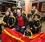 Bart Rogers (centre), Athletics Ireland, Rory Kirwin and Aine Kirwin with members of Dunleer Athletics Club, Gary Campbell, Shauna Campbell, Kevin Ledwith, Conor Matthews, Emma Cheshire, Ciara Butterly, Aoibheanna Campbell, Mark Byrnes, Seoda Matthews and Ronan Kelly after they were presented with the McDonald's Little Athletic Pack as part of a Nationwide Programme which is encouraging and providing the resources for children to become involved in grassroots athletics...Photo NEWSFILE/Jenny Matthews.(Photo credit should read Jenny Matthews/NEWSFILE)....This Picture has been sent you under the condtions enclosed by:.Newsfile Ltd..The Studio,.Millmount Abbey,.Drogheda,.Co Meath..Ireland..Tel: +353(0)41-9871240.Fax: +353(0)41-9871260.GSM: +353(0)86-2500958.email: pictures@newsfile.ie.www.newsfile.ie.FTP: 193.120.102.198.