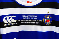 A view of Anthony Watson's matchday jersey hung up in the changing rooms on the occasion of his 100th appearance for the club. Gallagher Premiership match, between Leicester Tigers and Bath Rugby on May 18, 2019 at Welford Road in Leicester, England. Photo by: Patrick Khachfe / Onside Images