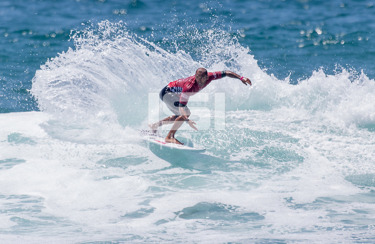 Huntington Beach, CA - Saturday August 4, 2018: Jadson Andre in action during a World Surf League (WSL) Qualifying Series (QS) Men's Round of 16 heat at the 2018 Vans U.S. Open of Surfing on South side of the Huntington Beach pier.