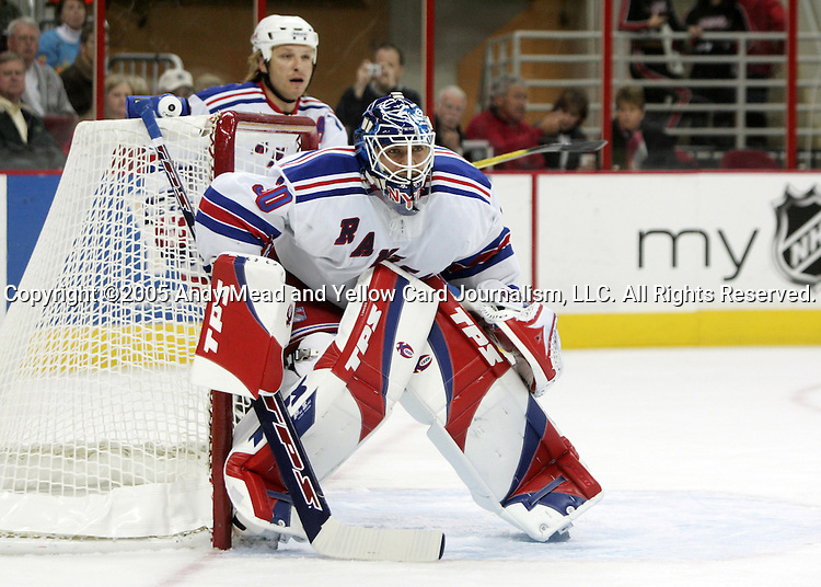 New York's Henrik Lundqvist on Thursday, November 17, 2005, at the RBC Center in Raleigh, North Carolina during a regular season NHL game. The Carolina Hurricanes defeated the New York Rangers 5-1.