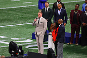 3rd February 2019, Atlanta Georgia, USA; NFL Superbowl LIII, New England Patriots versus Los Angeles Rams;  JJ Watt the presenter of the 2018 Walter Payton Man of the Year Award speaks prior to Super Bowl LIII