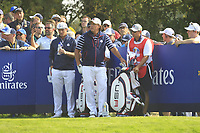 Bryson DeChambeau and Phil Mickelson (Team USA) on the 6th tee during the Friday Foursomes at the Ryder Cup, Le Golf National, Ile-de-France, France. 28/09/2018.<br /> Picture Thos Caffrey / Golffile.ie<br /> <br /> All photo usage must carry mandatory copyright credit (&copy; Golffile | Thos Caffrey)