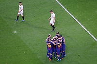 FC Barcelona's players celebrate goal in presence of Sevilla FC's Jesus Navas (l) and Clement Lenglet dejected during Spanish King's Cup Final match. April 21,2018. (ALTERPHOTOS/Acero)