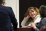 Nevada Sen. Mark Lipparelli, R-Las Vegas, Assembly Democrats Marilyn Kirkpatrick and Teresa Benitez Thompson talk at the Legislative Building in Carson City, Nev., on Wednesday, May 20, 2015.<br /> Photo by Cathleen Allison