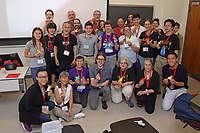 New York, NY, USA - June 24-25, 2017: OrigamiUSA 2017 Convention at St. John's University, Queens, New York, USA. Learning to fold Yamaguchi's Cat.