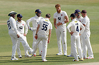 Kent players celebrate taking the wicket of Varun Chopraduring Essex CCC vs Kent CCC, Bob Willis Trophy Cricket at The Cloudfm County Ground on 2nd August 2020