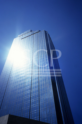 Melbourne, Australia. Ultra modern Rialto Towers office complex with sun reflecting off all glass walls.