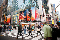 "Advertising for the Warner Bros'  ""Wonder Woman"" film is seen in Times Square in New York on Tuesday, May 10, 2017. The film stars Gal Gadot as the titular character and is scheduled for released in the U.S. June 2, 2017. (© Richard B. Levine)"