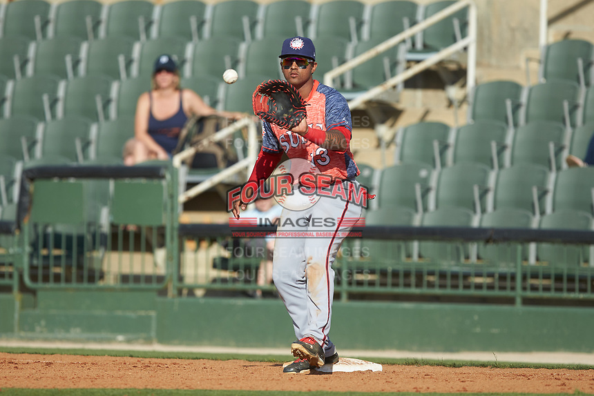 Hagerstown Suns first baseman Anderson Franco (13) waits for a throw during the game against the Kannapolis Intimidators at Kannapolis Intimidators Stadium on May 6, 2018 in Kannapolis, North Carolina. The Intimidators defeated the Suns 4-3. (Brian Westerholt/Four Seam Images)