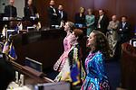 Nevada senators watch Hannah Myers, Sienna Shane and Chritana Cabrera with the Truckee River Dance Company perform an Irish dance on the Senate floor at the Legislative Building in Carson City, Nev., on Thursday, March 14, 2013..Photo by Cathleen Allison