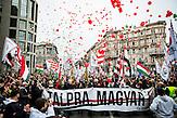 Eine Kundgebung der rechtsextreme Jobbik-Partei am 15. März 2014 in Budapest, am Gedenktag der Revolution von 1848 in Ungarn. / Jobbik celebrates the anniversary of the Hungarian revolution on March 15