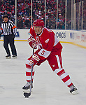 31 December 2013: Former Detroit Red Wings defenseman Nicklas Lidstrom (5) handles the puck during the Toronto Maple Leafs v Detroit Red Wings Alumni Showdown hockey game, at Comerica Park, in Detroit, MI.