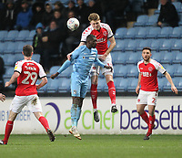 Fleetwood Town's Harry Souttar jumps with  Coventry City's Amadou Bakayoko <br /> <br /> Photographer Mick Walker/CameraSport<br /> <br /> The EFL Sky Bet League One - Coventry City v Fleetwood Town - Tuesday 12th March 2019 - Ricoh Arena - Coventry<br /> <br /> World Copyright © 2019 CameraSport. All rights reserved. 43 Linden Ave. Countesthorpe. Leicester. England. LE8 5PG - Tel: +44 (0) 116 277 4147 - admin@camerasport.com - www.camerasport.com