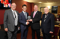 Sunday, 26 April 2014<br /> Pictured: Presentetion of award at the St Helen's Lounge.<br /> Re: Barclay's Premier League, Swansea City FC v Aston Villa at the Liberty Stadium, south Wales.