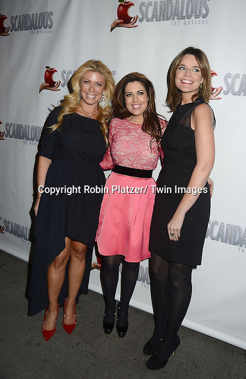 "Jill Martin, Bobbie Thomas and Savannah Guthrie attends the ""Scandalous"" Broadway Opening on November 15, 2012 at The Neil Simon Theatre in New York City. Kathie Lee Gifford wrote the book and the lyrics."