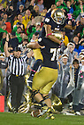 Oct. 13, 2012; Notre Dame wide receiver TJ Jones celebrates his touchdown with offensive tackle Zack Martin in overtime against Stanford. Photo by Barbara Johnston/University of Notre Dame