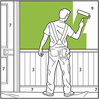 Decorator painting room by numbers