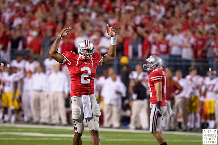12 September 2009:  Football -- Ohio State quarterback Terrelle Pryor plays to the crowd during their game against USC at Ohio Stadium in Columbus.  USC won 18-15.  Photo by Christopher McGuire.