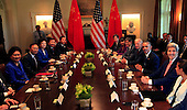 United States President Barack Obama meets the Chinese and American delegations at the conclusion of their economic summit in the Cabinet Room of the White House in Washington, DC on June 24, 2015.  <br /> Credit: Dennis Brack / Pool via CNP