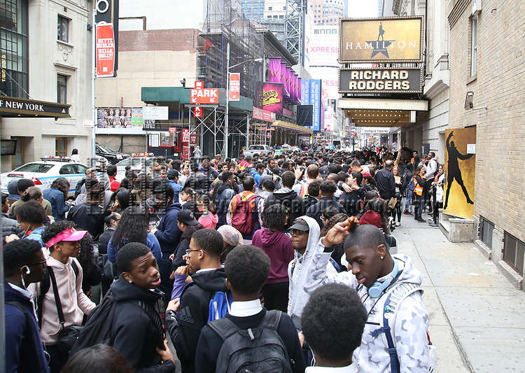 "Students before The Rockefeller Foundation and The Gilder Lehrman Institute of American History sponsored High School student #EduHam matinee performance of ""Hamilton"" at the Richard Rodgers Theatre on May 24, 2017 in New York City."