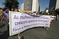 Rio de Janeiro,18 de  junho de 2012 - Na  manh&atilde; dessa  segunda-feira(18), evento da sociedade civil paralelo &aacute; confer&ecirc;ncia das na&ccedil;oes  unidas sobre o desenvoolvimento sustent&aacute;vel (RIO+20),realiza marchas das mulheres , pelo centro do RJ, concentrando no Museu de  Arte Moderna (MAM), no Aterro do Flamengo.<br /> Guto Maia / Brazil Photo Press