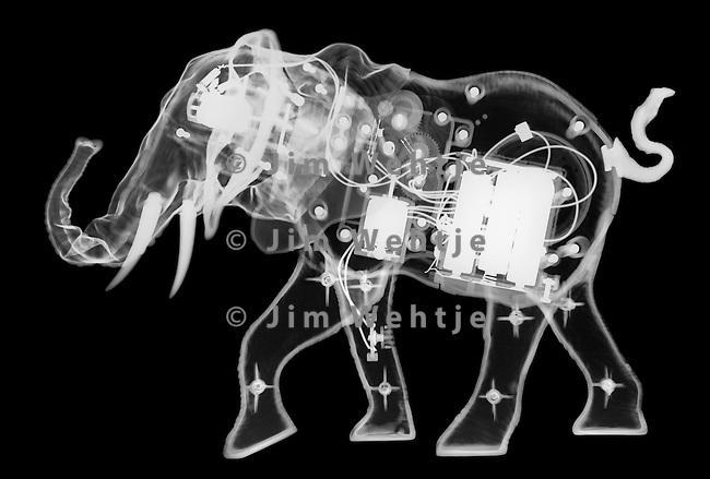 X-ray image of a mechanical elephant (white on black) by Jim Wehtje, specialist in x-ray art and design images.